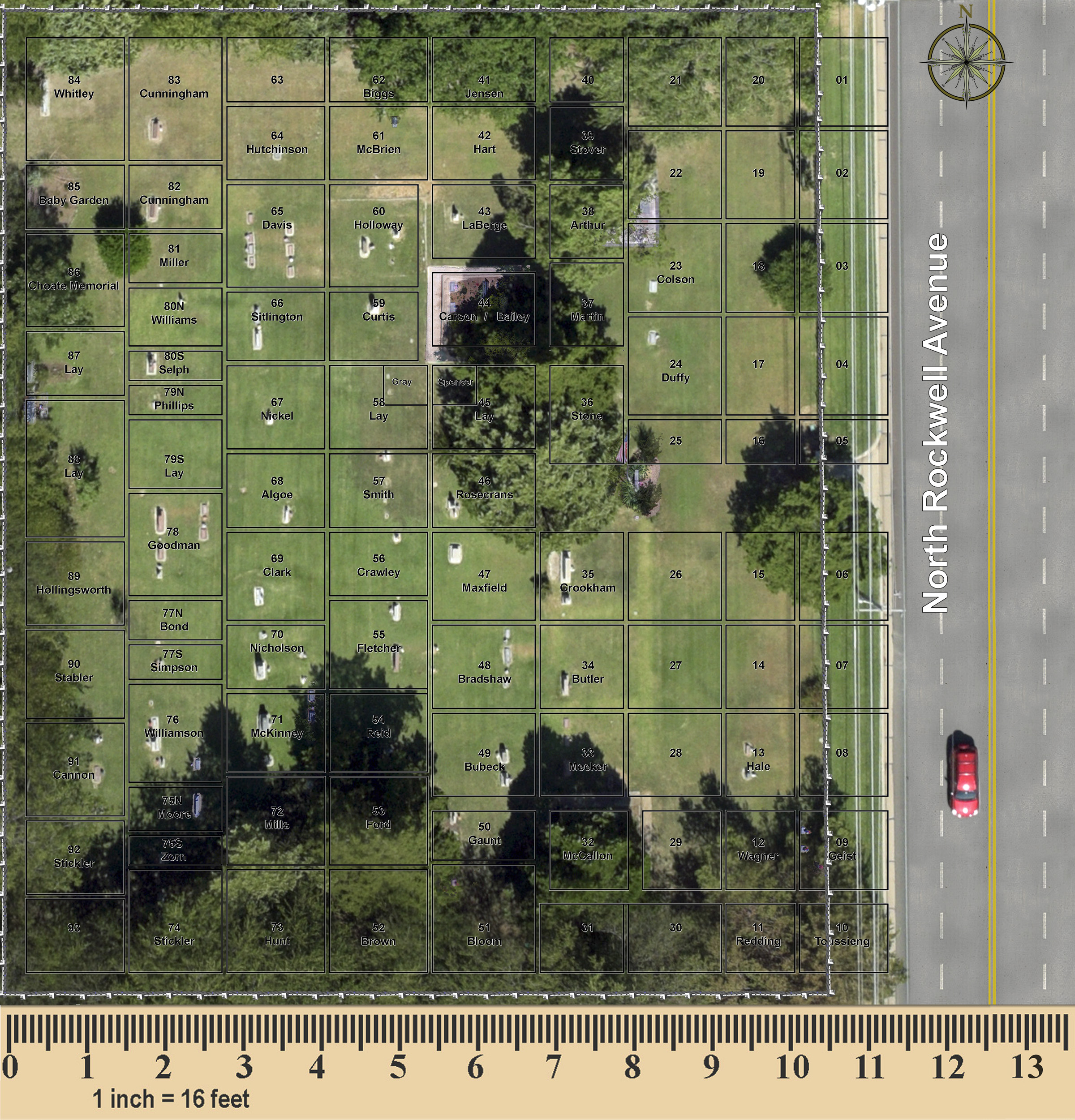 Olive Hill Cemetery Map